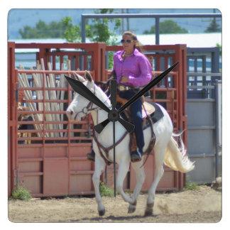 Montana-Maultier-Tage im Juni 2016 Quadratische Wanduhr