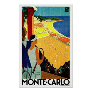 Monte Carlo Monaco Tennis-Reise-Kunst Posterdrucke