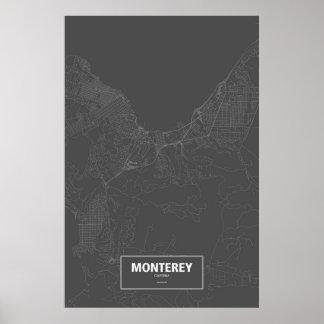 Monterey, Kalifornien (weiß auf Schwarzem) Poster