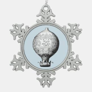 Montgolfier Vintager Heißluft-Ballon auf Schneeflocken Zinn-Ornament