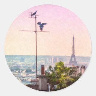 Montmartre Ansichten - Paris-Eiffelturm-Aufkleber Runder Aufkleber
