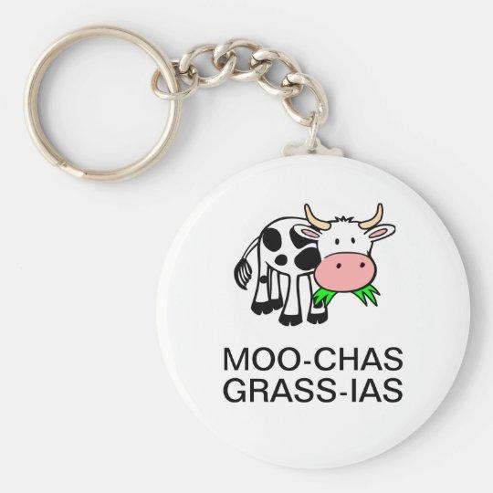 Moo Chas Gras Ias Muchas Gracias Runder Schlüsselanhänger