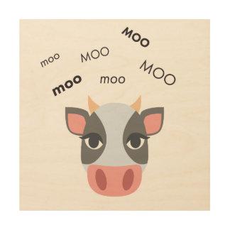 MOO-Kuh niedliches Emoji Holzleinwand