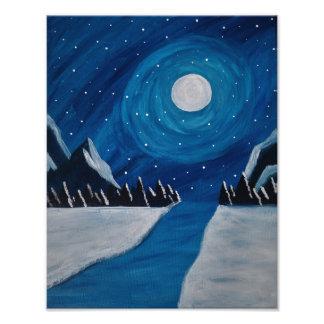 Moonlit Berge Fotodruck