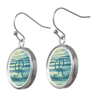Moonlit Meer mit Monogramm Ohrringe