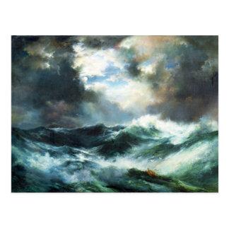 Moonlit Schiffbruch in Meer Postkarte