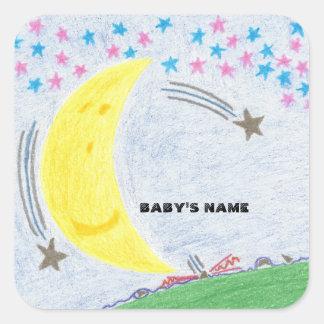 Moonlit Traum-Babyparty oder neue Baby-Aufkleber Quadratischer Aufkleber