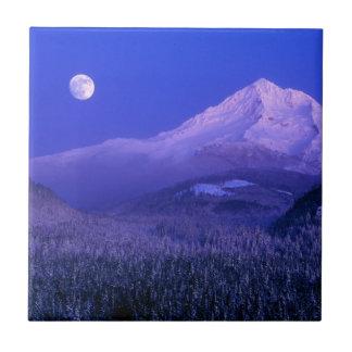 Moonrise in Mt-Haubenwinter, Oregon Fliese