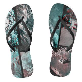 Moonscape Raum-Foto-Anaglyph-Mosaik Flip Flops