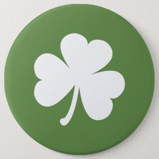Moos-Grün mit irischem Kleeblatt Runder Button 15,3 Cm