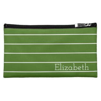 Moos-Grün-und Weiß-Streifen personalisiert Kosmetiktasche