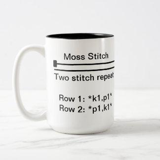 Moos-Stich-Tasse Zweifarbige Tasse