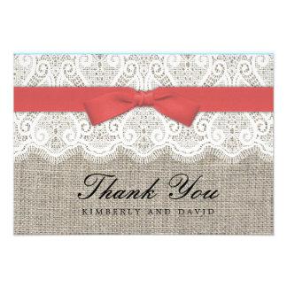 Moosbeerbogen und Spitze-Hochzeit danken Ihnen zu Individuelle Einladung