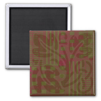 Moosbeerolivgrüne Holzschnitt Celticinspiration Quadratischer Magnet
