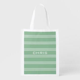 Moosgrün Stripes wiederverwendbare Tasche des Wiederverwendbare Einkaufstasche