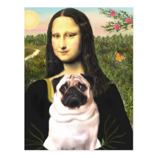 Mops 3 (Kitz) - Mona Lisa Postkarte
