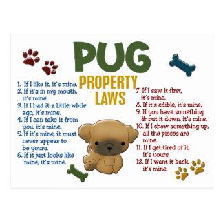 Mops-Eigentums-Gesetze 4 Postkarte