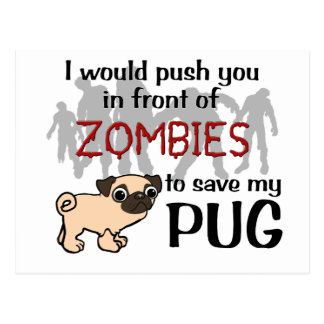 Mops gegen Zombies Postkarte