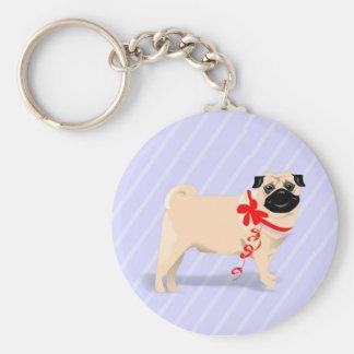 Mops-Hund mit rotem Band Keychain Standard Runder Schlüsselanhänger