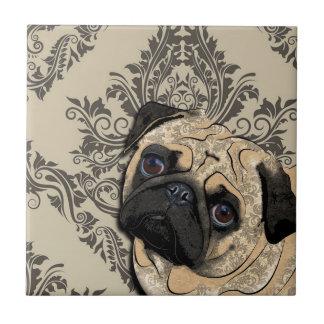 Mops-Hundeabstrakter Haustier-Muster-Druck Kleine Quadratische Fliese