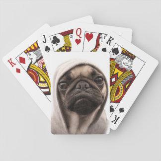 Mops in einem Hoodie Spielkarten