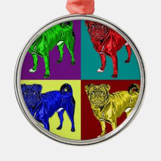 Mops Jack in 4 Farben Rundes Silberfarbenes Ornament