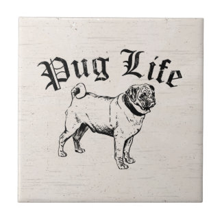 Mops-Leben-lustiger Hundegangster Kleine Quadratische Fliese