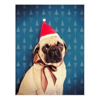 Mops Lola Weihnachtskarte Postkarte
