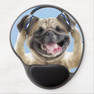 Mops mit Kopfhörern, Mops, Haustier Gel Mousepad
