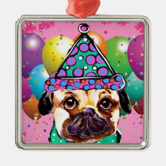 Mops-Party-Hund Quadratisches Silberfarbenes Ornament