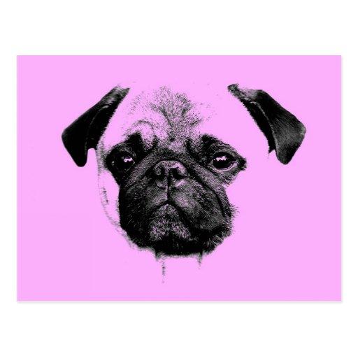 mops puppy pink postkarte