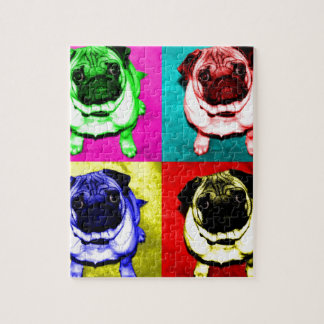 Mops Richi in 4 Farben Puzzle