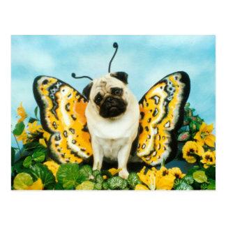 Mops-Schmetterlings-Postkarte Postkarte