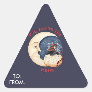 Mops Sie zum Mond Dreieckiger Aufkleber
