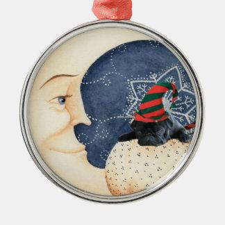 Mops Sie zum Mond! Silbernes Ornament