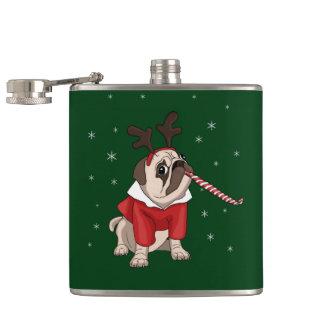 Mops-Weihnachten Flachmann