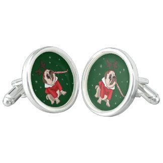 Mops-Weihnachten Manschetten Knöpfe