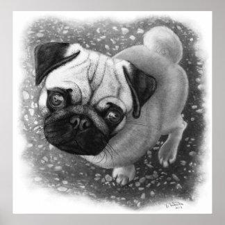 Mops-Welpen-Hundekunst Poster