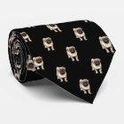 Mops-Welpen-Muster auf Schwarzem Krawatte