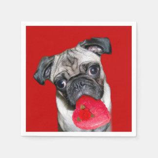 Mopshund des Valentines Servietten