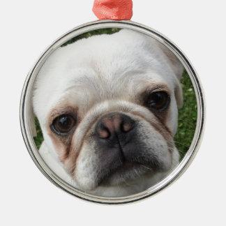 Mopshund Rundes Silberfarbenes Ornament