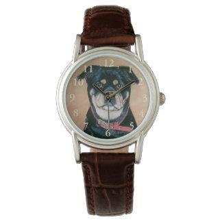 Mopshundeporträtrealist-Kunstschwarzes und tan Uhr