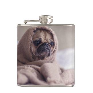 Mopswelpe Hund, der in eine warme Tuch Decke Flachmann