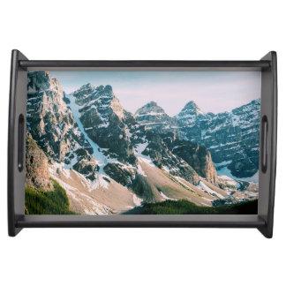 Moraine See-Berge in Alberta, Kanada Tablett