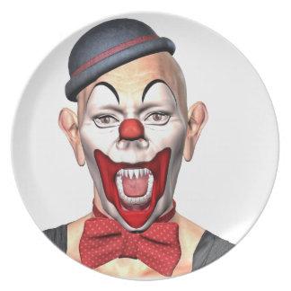 Mörder-Clown, der zur Front schaut Melaminteller