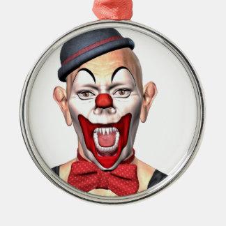 Mörder-Clown, der zur Front schaut Silbernes Ornament