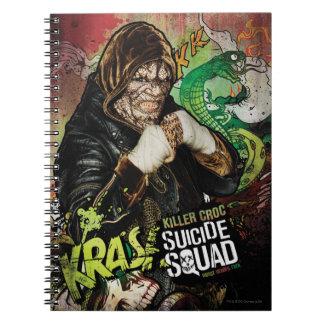 Mörder Croc Charakter-Graffiti der Spiral Notizblock