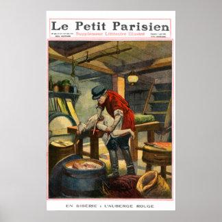 Mordgasthaus - Zeitungsdruck mit 1910 Franzosen Poster