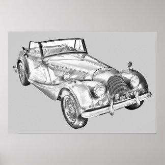 Morgan 1964 plus 4 Sport-Auto-Illustration Poster