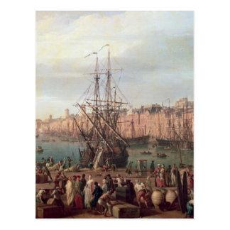 Morgen-Ansicht des inneren Hafens von Marseille Postkarte